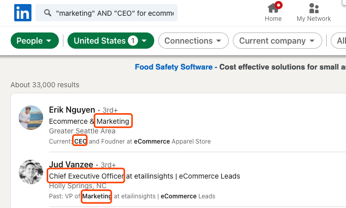 marketing AND CEO for ecommerce
